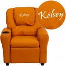 Flash Furniture DG-ULT-KID-ORANGE-GG Contemporary Orange Vinyl Kids Recliner with Cup Holder and Headrest addl-1