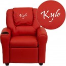 Flash Furniture DG-ULT-KID-RED-GG Contemporary Red Vinyl Kids Recliner with Cup Holder and Headrest addl-1
