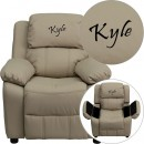 Flash Furniture BT-7985-KID-BGE-GG Deluxe Heavily Padded Contemporary Beige Vinyl Kids Recliner with Storage Arms addl-1