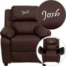 Flash Furniture BT-7985-KID-BRN-LEA-GG Deluxe Heavily Padded Contemporary Brown Leather Kids Recliner with Storage Arms addl-1