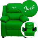 Flash Furniture BT-7985-KID-GRN-GG Deluxe Heavily Padded Contemporary Green Vinyl Kids Recliner with Storage Arms addl-1