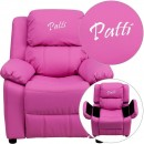 Flash Furniture BT-7985-KID-HOT-PINK-GG Deluxe Heavily Padded Contemporary Hot Pink Vinyl Kids Recliner with Storage Arms addl-1