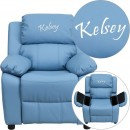 Flash Furniture BT-7985-KID-LTBLUE-GG Deluxe Heavily Padded Contemporary Light Blue Vinyl Kids Recliner with Storage Arms addl-1