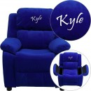 Flash Furniture BT-7985-KID-MIC-BLUE-GG Deluxe Heavily Padded Contemporary Blue Microfiber Kids Recliner with Storage Arms addl-1