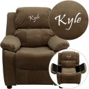 Flash Furniture BT-7985-KID-MIC-BRN-GG Deluxe Heavily Padded Contemporary Brown Microfiber Kids Recliner with Storage Arms addl-1