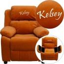Flash Furniture BT-7985-KID-MIC-ORG-GG Deluxe Heavily Padded Contemporary Orange Microfiber Kids Recliner with Storage Arms addl-1
