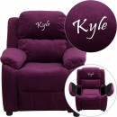 Flash Furniture BT-7985-KID-MIC-PUR-GG Deluxe Heavily Padded Contemporary Purple Microfiber Kids Recliner with Storage Arms addl-1