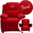 Flash Furniture BT-7985-KID-MIC-RED-GG Deluxe Heavily Padded Contemporary Red Microfiber Kids Recliner with Storage Arms addl-1