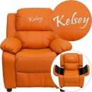 Flash Furniture BT-7985-KID-ORANGE-GG Deluxe Heavily Padded Contemporary Orange Vinyl Kids Recliner with Storage Arms addl-1