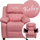 Flash Furniture BT-7985-KID-PINK-GG Deluxe Heavily Padded Contemporary Pink Vinyl Kids Recliner with Storage Arms addl-1