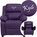 Flash Furniture BT-7985-KID-PUR-GG Deluxe Heavily Padded Contemporary Purple Vinyl Kids Recliner with Storage Arms addl-1