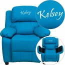 Flash Furniture BT-7985-KID-TURQ-GG Deluxe Heavily Padded Contemporary Turquoise Vinyl Kids Recliner with Storage Arms addl-1