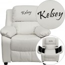 Flash Furniture BT-7985-KID-WHITE-GG Deluxe Heavily Padded Contemporary White Vinyl Kids Recliner with Storage Arms addl-1