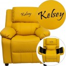 Flash Furniture BT-7985-KID-YEL-GG Deluxe Heavily Padded Contemporary Yellow Vinyl Kids Recliner with Storage Arms addl-1