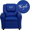 Flash Furniture DG-ULT-KID-BLUE-GG Contemporary Blue Vinyl Kids Recliner with Cup Holder and Headrest addl-1