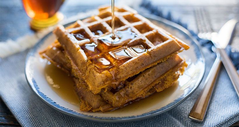 Maple-Walnut Syrup Pumpkin Waffles