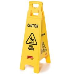 "Caution Wet Floor"" Floor Sign, 4-Sided, Plastic, 12"" x 16"" x 38"", Yellow"