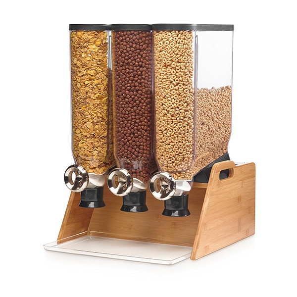 Rosseto DS102 Triple Tabletop Dispenser with Bamboo Stand
