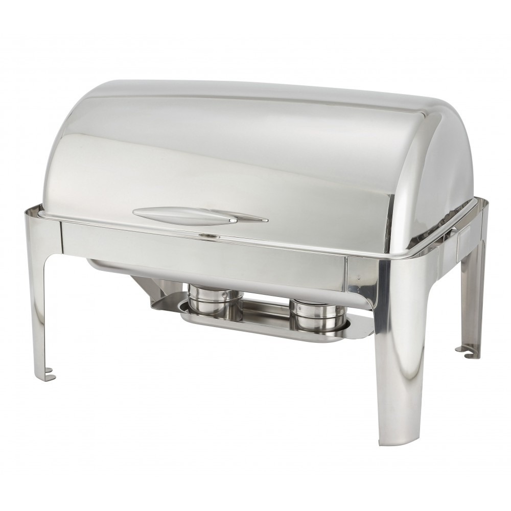 TigerChef Full Size 8 Qt Stainless Steel Roll Top Oblong Chafing Dish
