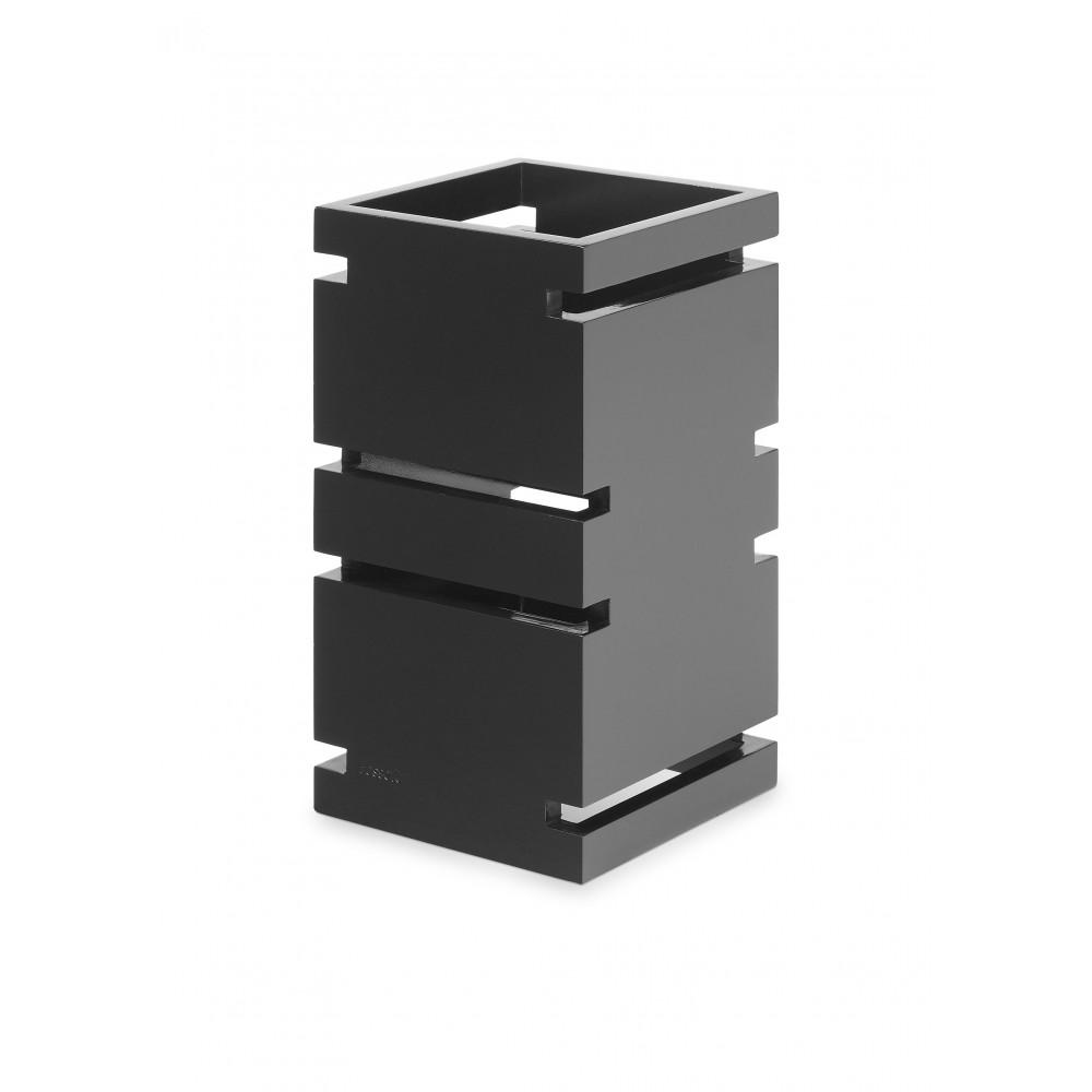 "Rosseto SW102 Skycap Black Gloss Natural Bamboo Square Multi-Level Riser 6.65"" x 6.65"" x 12""H"