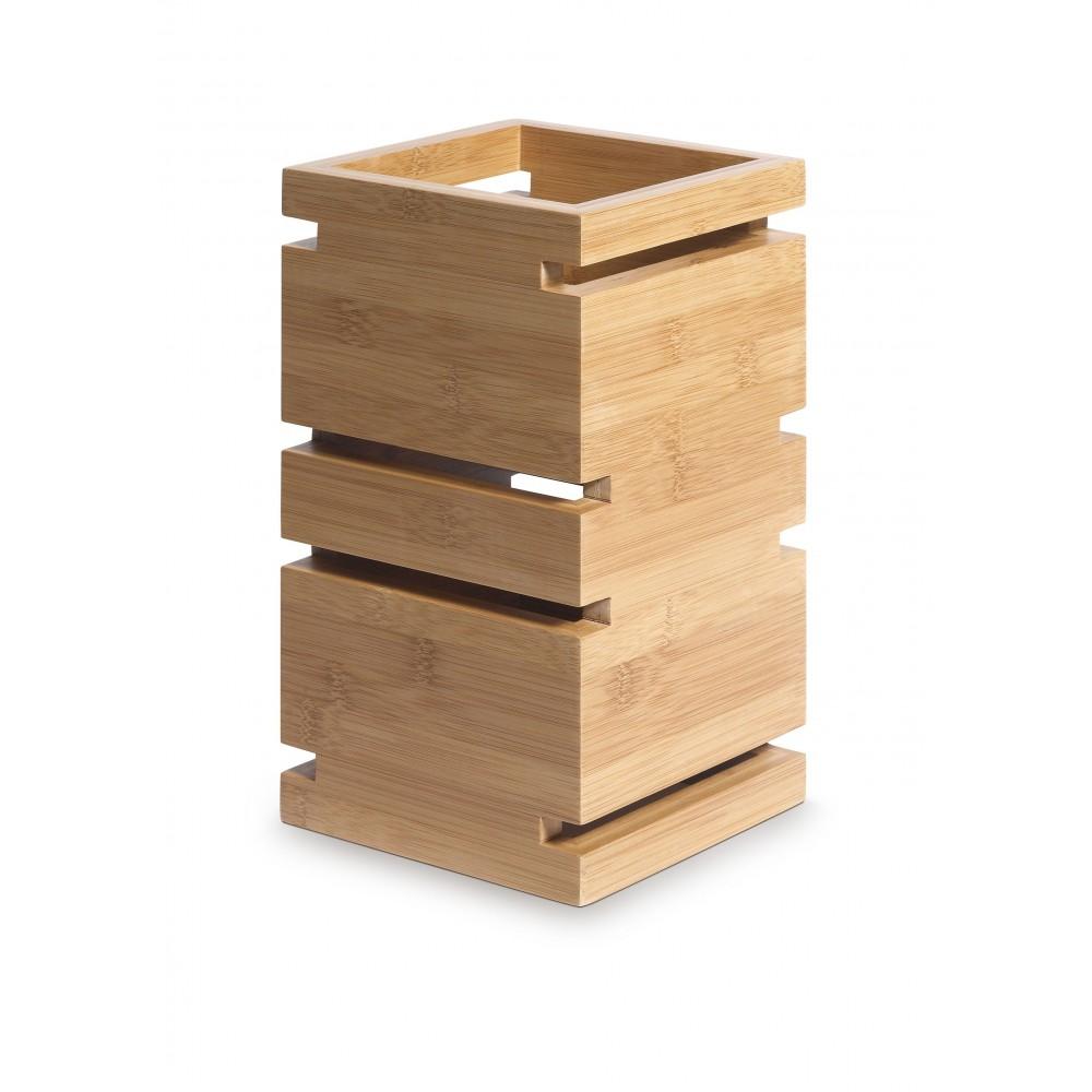 "Rosseto SW100 Skycap Natural Bamboo Square Multi-Level Riser 6.65"" x 6.65"" x 12""H"