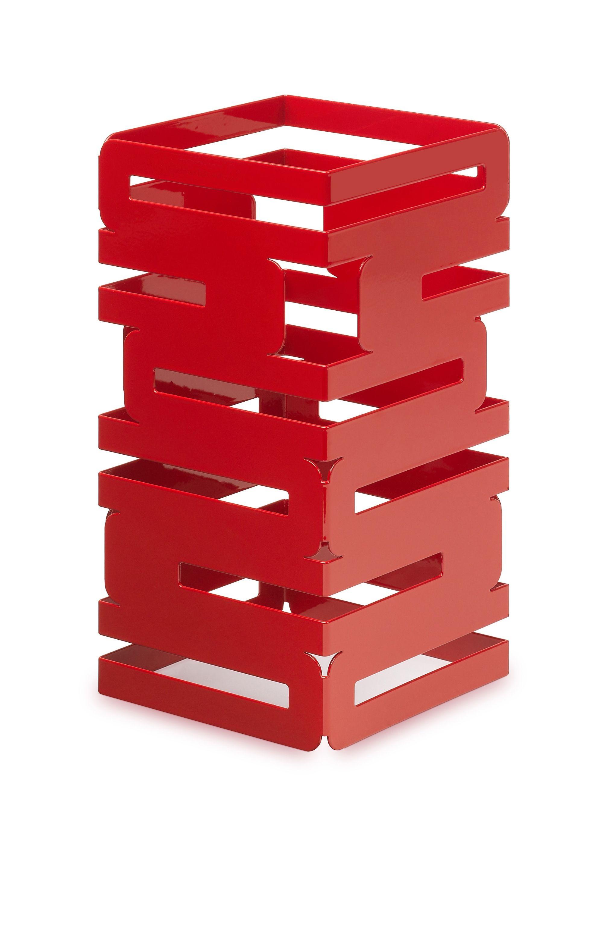 "Rosseto SM186 Skycap Red Gloss Steel Square Multi-Level Riser 6"" x 6"" x 12""H"