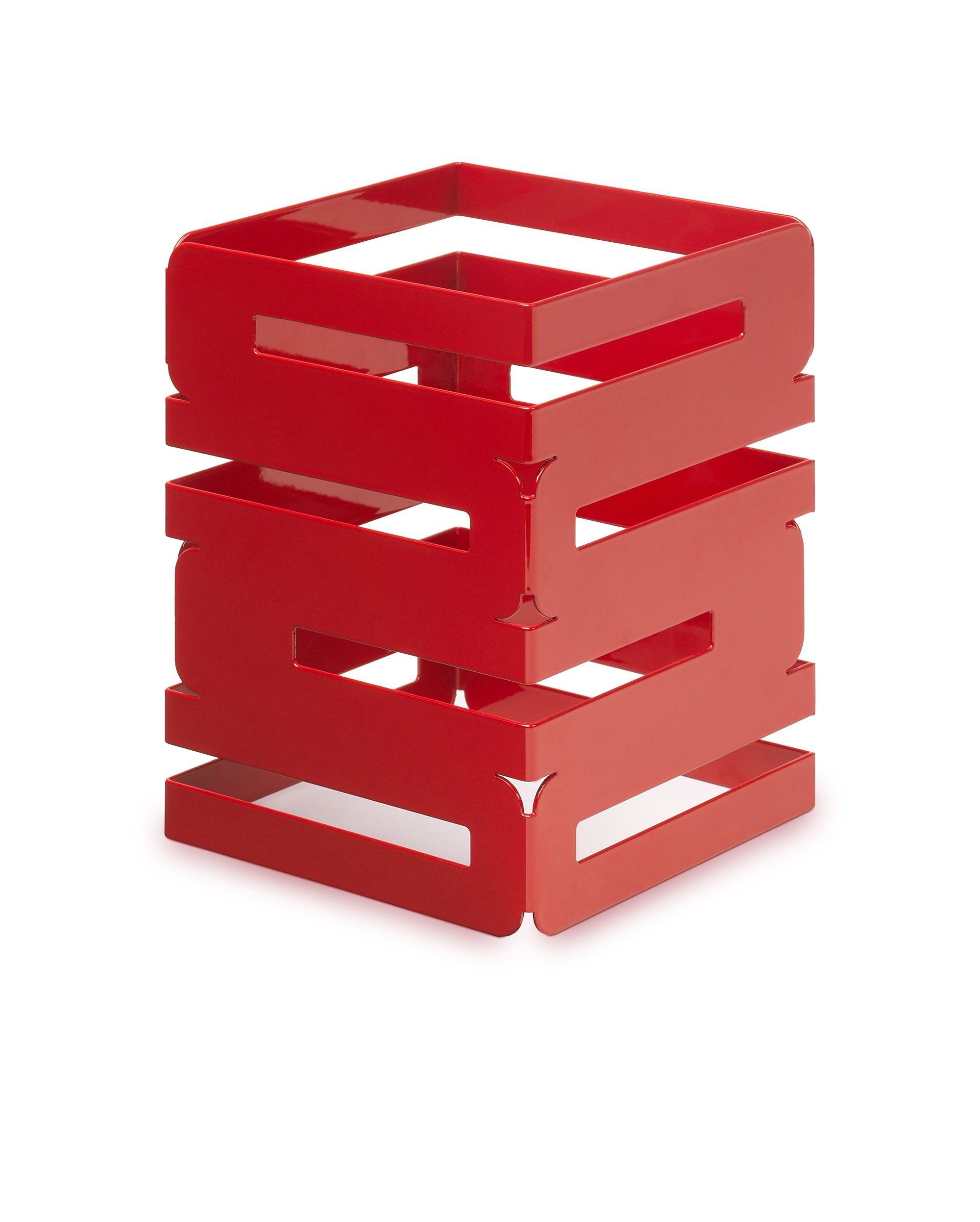 "Rosseto SM185 Skycap Red Gloss Steel Square Multi-Level Riser 6"" x 6"" x 8""H"
