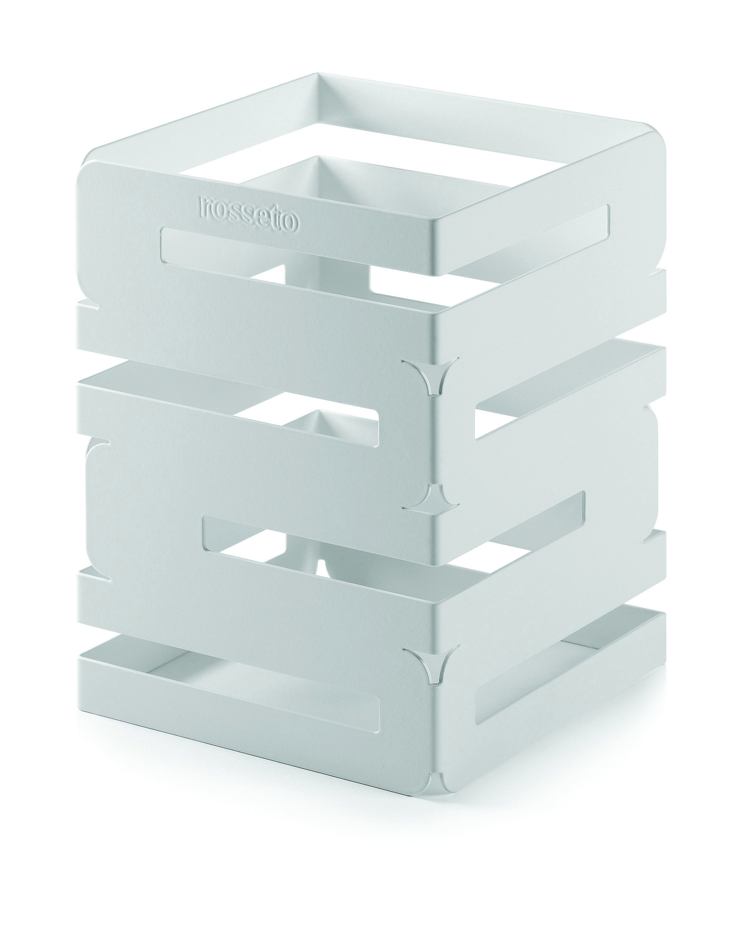 "Rosseto SM131 Skycap White Matte Steel Square Multi-Level Riser 6"" x 6"" x 8""H"