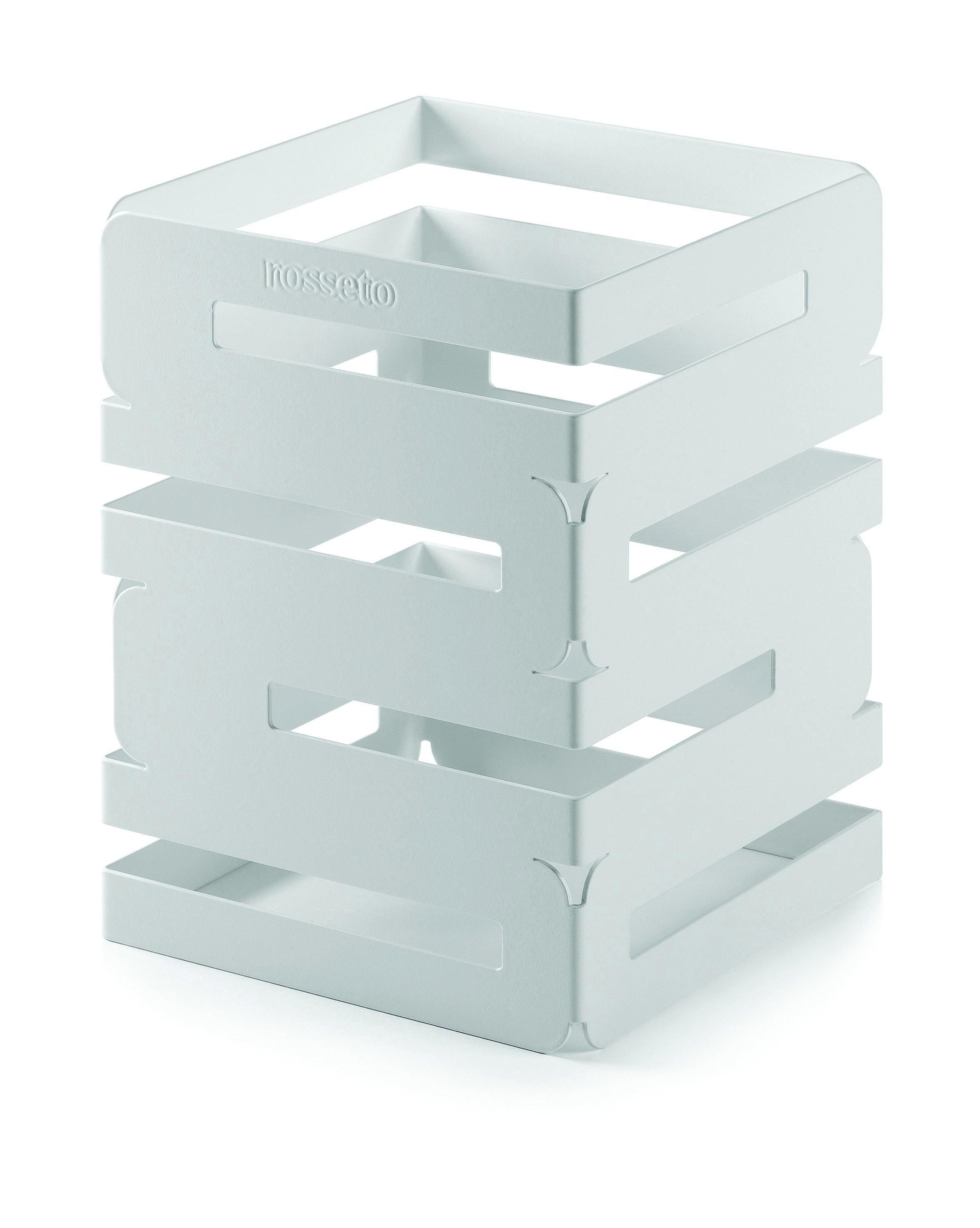 """Rosseto SM131 Skycap White Matte Steel Square Multi-Level Riser 6"""" x 6"""" x 8""""H"""