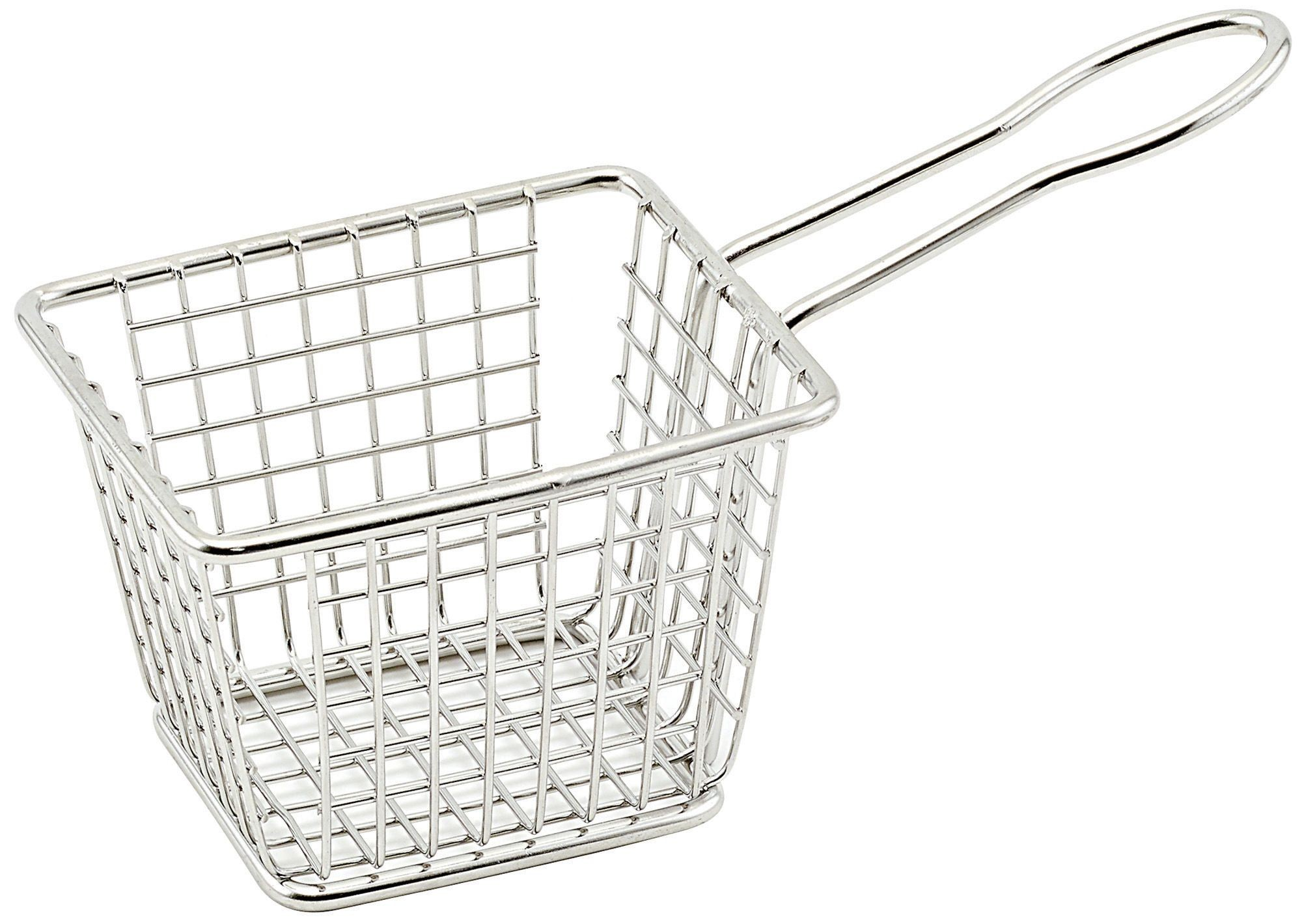 "Winco FBM-433T Rectangular Stainless Steel Mini Fry Basket 4"" x 3"" x 3"""