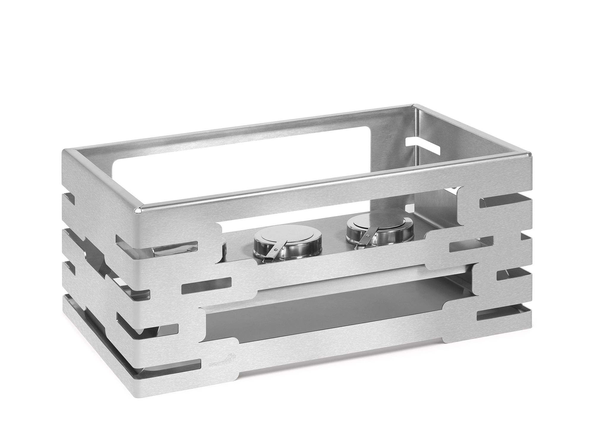 "Rosseto SM191 Multi-Chef™ Rectangular Stainless Steel Warmer with Burner Holder 21.6"" x 13.57"" x 10""H"