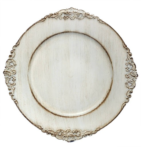 "TigerChef Royal Antique Embossed White 13"" Charger Plate"
