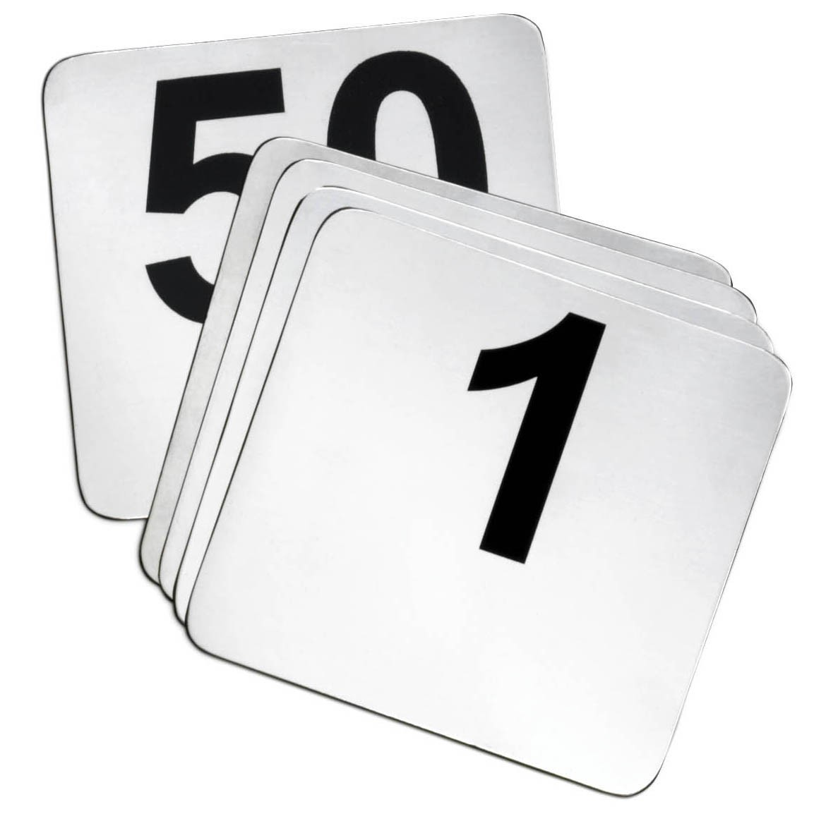 1-50 Stainless Steel Table Number Cards