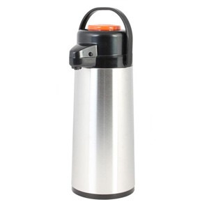 Glass Lined Stainless Steel Airpot with Push Button, Decaf 1.9 Liter