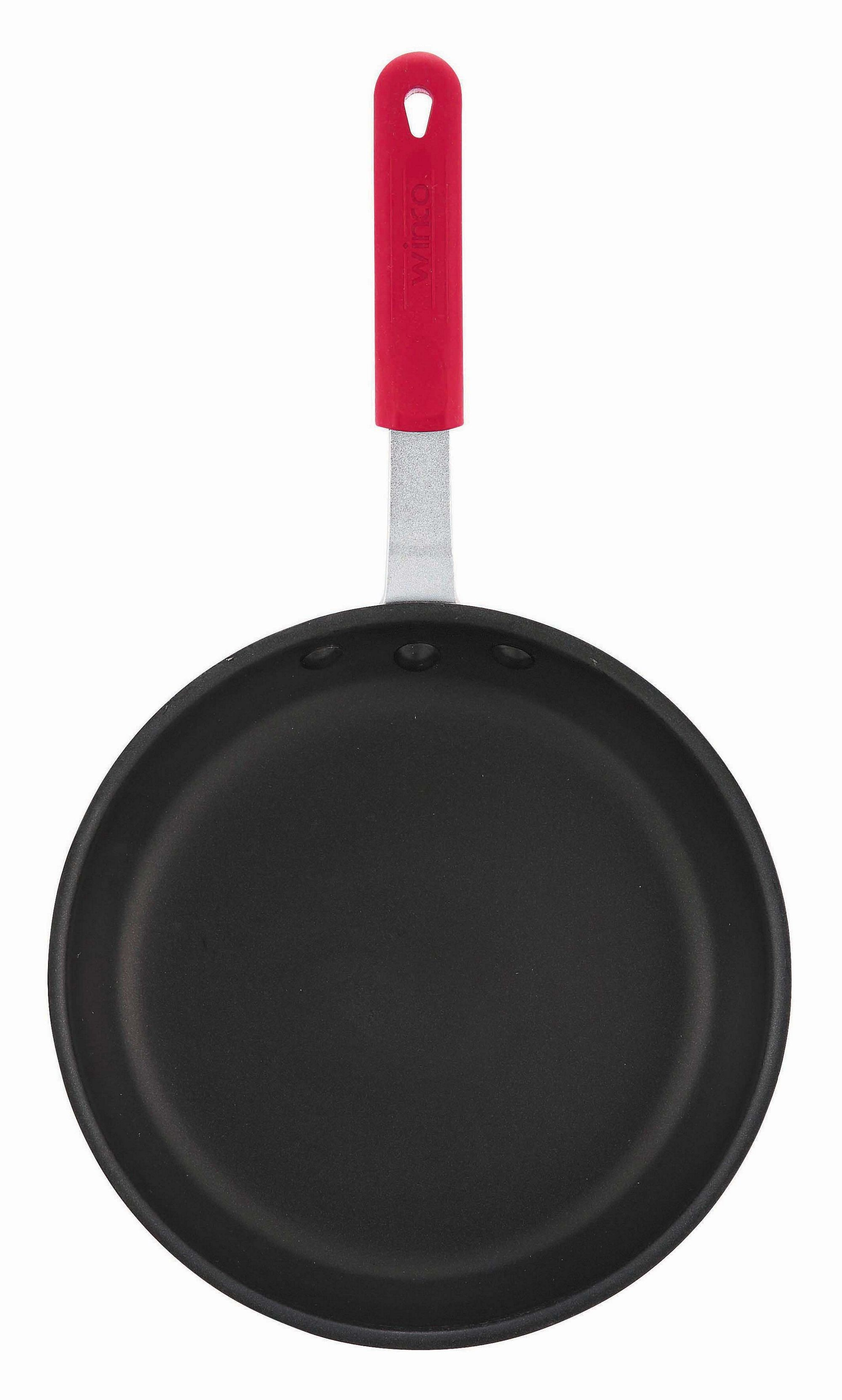 "Winco AFP-10NS-H 10"" Quantum Aluminum Non-Stick Fry Pan with Silicone Sleeve"