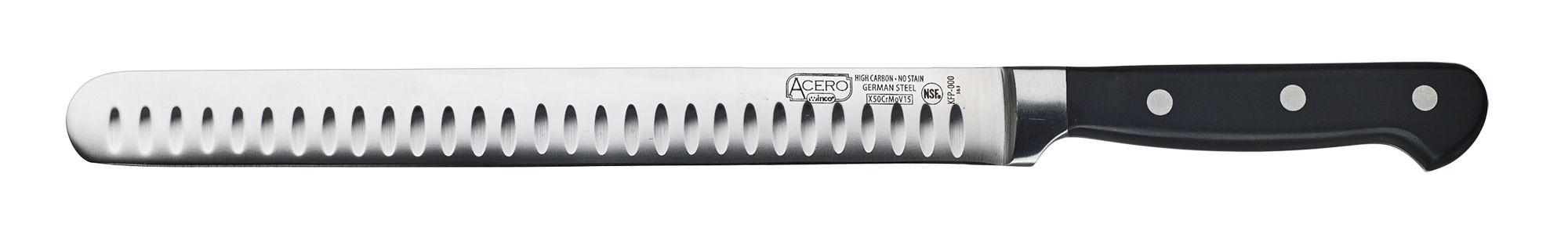 "Winco KFP-102 Fish/Roast Granton Edge Slicer with POM Handle 10"""
