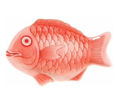 "Thunder Group 1000CFR 10"" Red Fish Shape Melamine Platter"