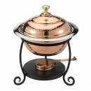Old Dutch 890 Decor Copper over Stainless Steel Round Chafing Dish, 1 3/4 Qt.