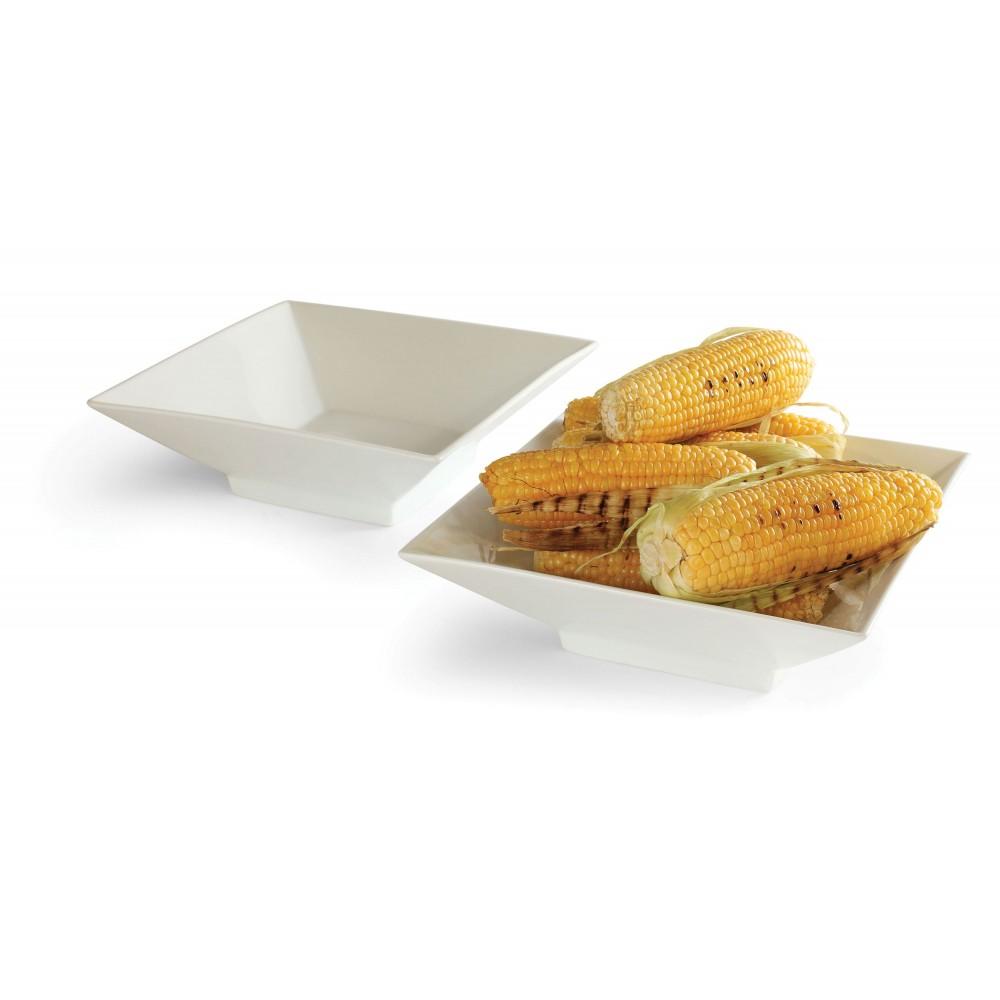 """Rosseto CP001 10.75"""" Square Porcelain Bowl, 2-Pieces"""