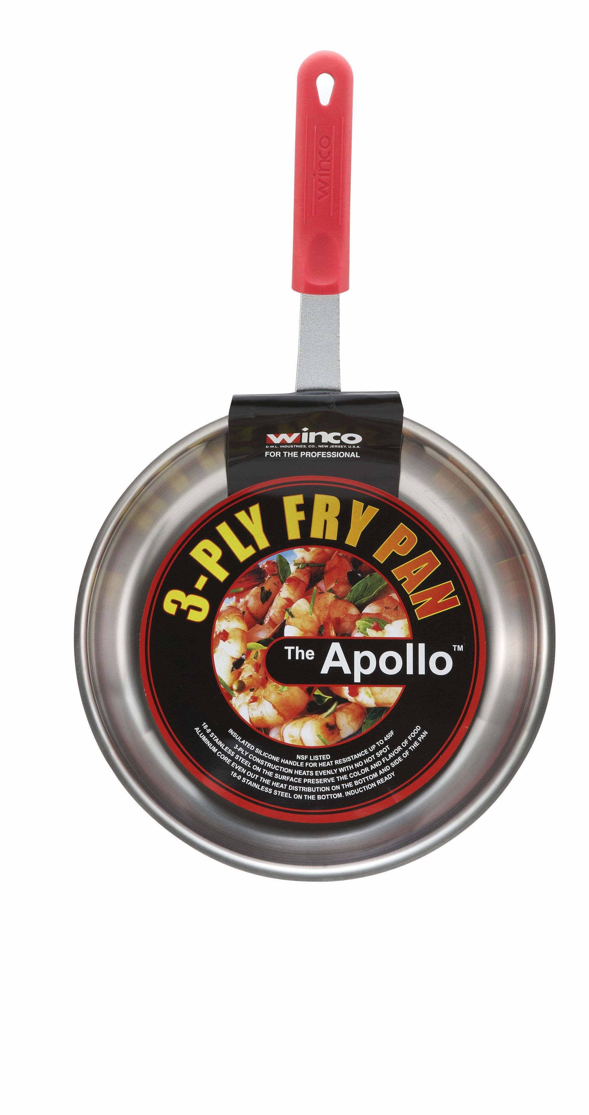 10 Tri-Ply Stainless Steel Fry Pan w/red silicon sleeve