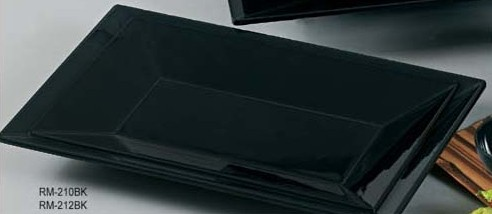 """Yanco RM-210BK 10 x 6"""" Rectangular Black Melamine Plate"""