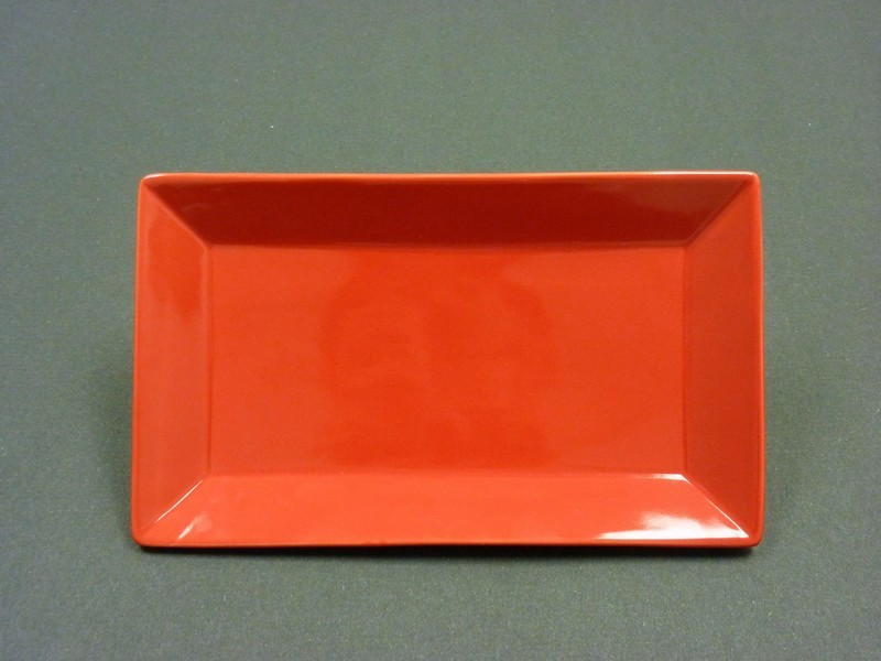 "Yanco CA-210RD Carnival Red 10 x 7"" Rectangular Plate"