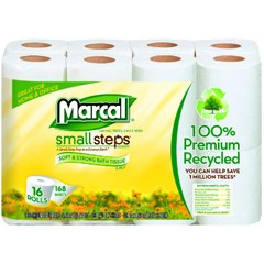 100% Recycled Bath Tissue, 2-Ply, 4.3 x 3.66 Sheet, 168 Sheets/Roll