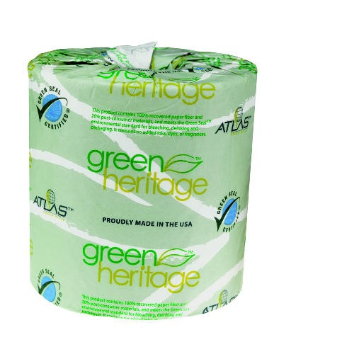 Green Heritage Toilet Tissue, Individually Wrapped 1-Ply, 1000 Sheets/Roll, 96 Rolls/Case