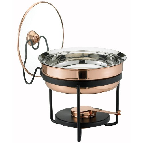 Old Dutch 970 Decor Copper Chafing Dish with Glass Lid, 2 1/2 Qt.