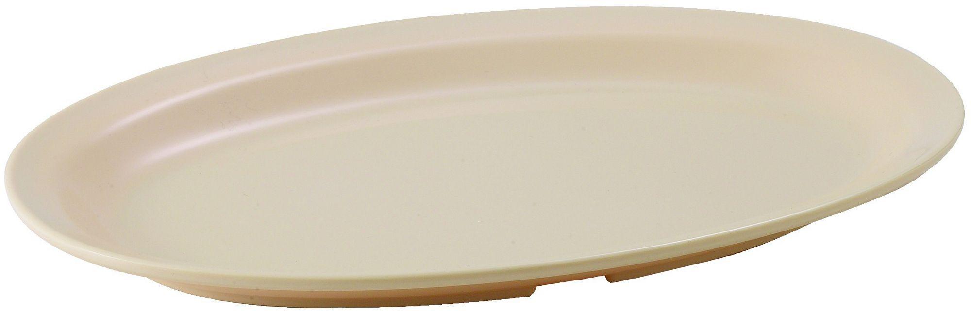 "Winco MMPO-118 Tan Melamine 11 1/2"" x 8"" Oval Platter with Narrow Rim"