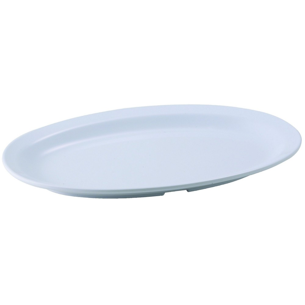 "Winco mmpo-118w White Melamine 11 1/2"" x 8"" Oval Platter with Narrow Rim"