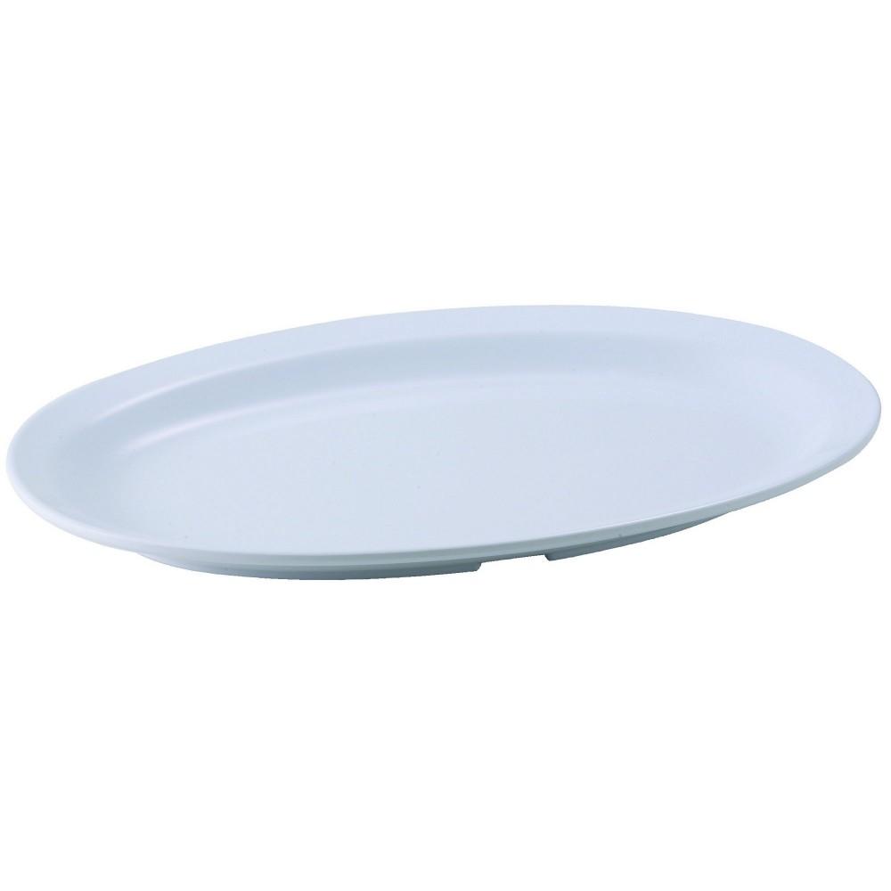 """Winco MMPO-118W White Melamine 11 1/2"""" x 8"""" Oval Platter with Narrow Rim"""