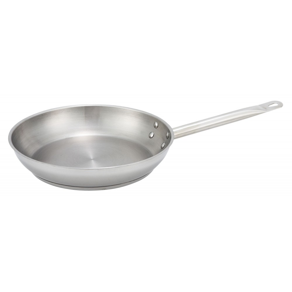 Winco SSFP-11 Stainless Steel Induction Fry Pan 11""