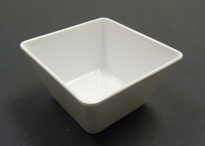 "Yanco RM-412 Rome 12"" x 5 7/8"" Square White Melamine Bowl 8 Qt."